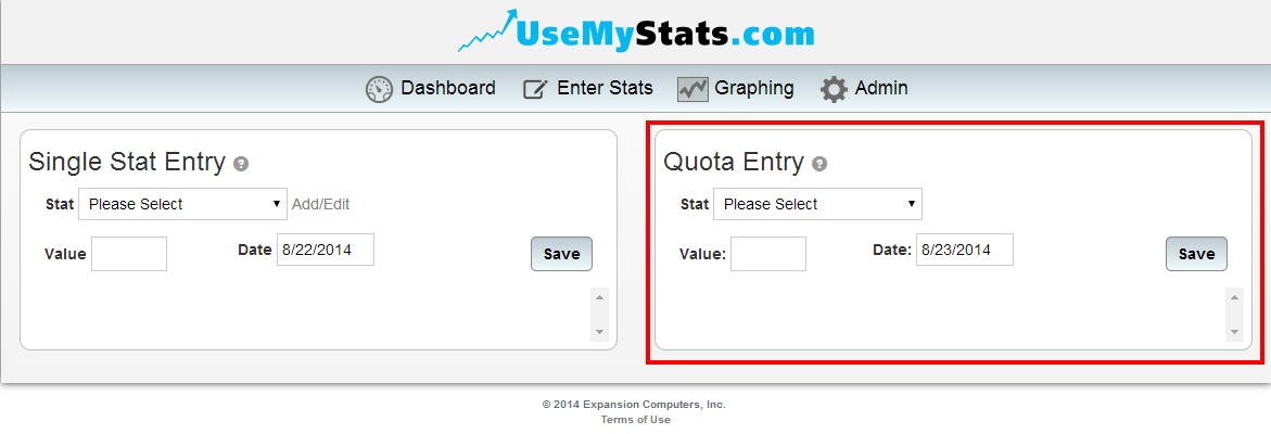 eq - quota entry box