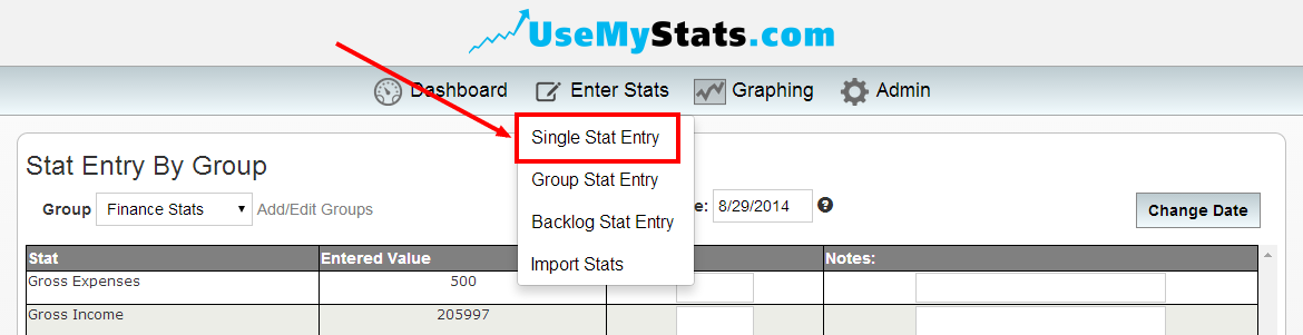 htes - single stat entry dropdown